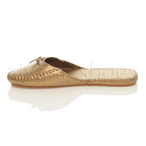 womens flat slip on bow toe casual mules