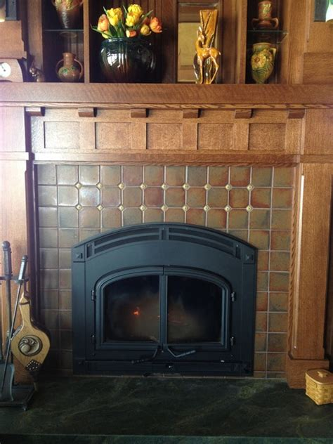 Arts And Crafts Fireplace Surround by Arts Crafts Fireplace Craftsman Family Room Other