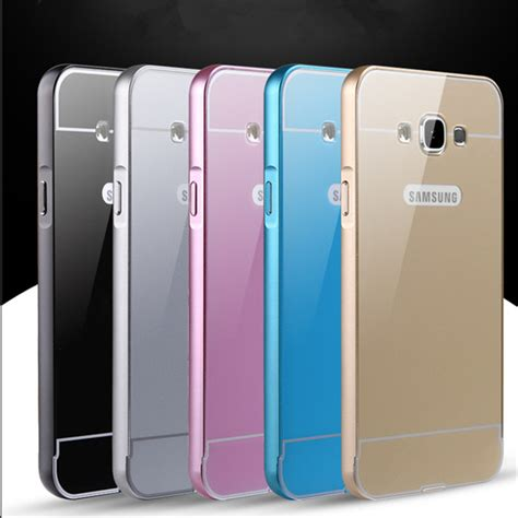 Samsung Galaxy J7 2016 Hybrid Metal Aluminium Bumper Leather Back ultra thin hybrid metal aluminium frame bumper acrylic back cover for samsung galaxy j5 2016