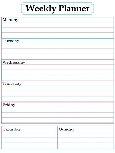 Galerry printable college assignment planner