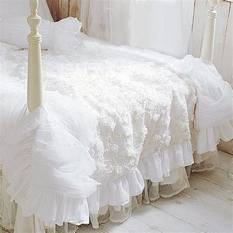 white ruched bedding luxury white rose ruffle ruched lace bridal duvet cover pillow sham bedding set