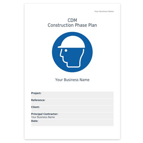 cdm construction phase plan template templates health and safety plan template sle