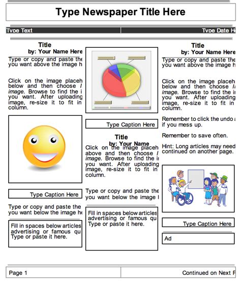 student newspaper template 2 beautiful templates to create classroom newspapers using