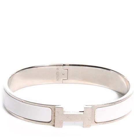 HERMES Narrow Enamel Clic Clac H Bracelet PM White