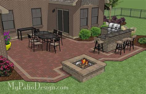 Large Patio Designs Large Courtyard Brick Patio Design With Outdoor Kitchen