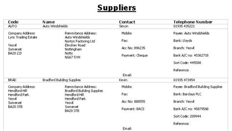supplier list template excel templates