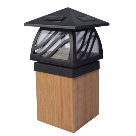 Moonrays 1 Light Black Outdoor Led Solar Powered Post Cap Home Depot Solar Post Lights