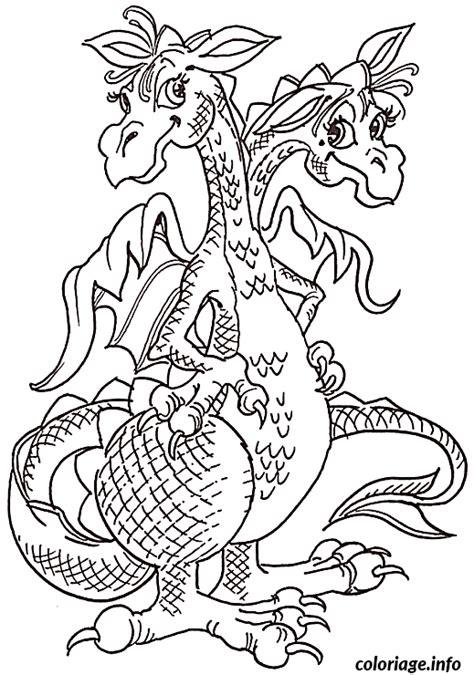 Coloriage Dragon A 2 Tetes Dessin