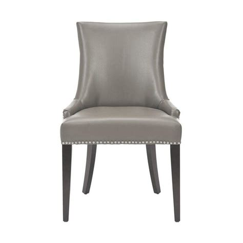 Becca Dining Chair Home Decorators Collection Becca Grey Leather Side Chair Set Of 2 1507000780 The Home Depot