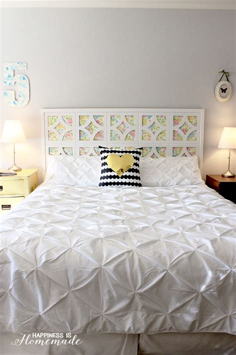 easy homemade headboard diy vintage sheet headboard happiness is homemade