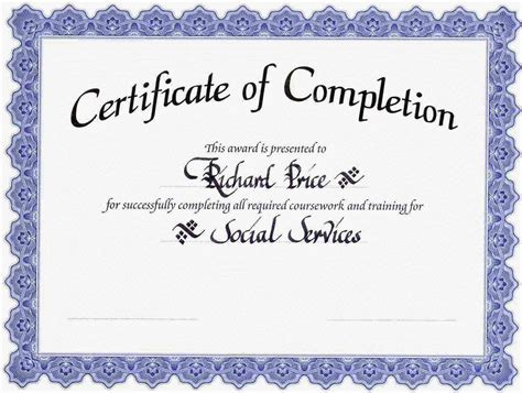 free certificate of completion template 10 best images of certificate of completion template