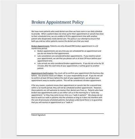 appointment letter policy broken appointment letter template 5 sles for word