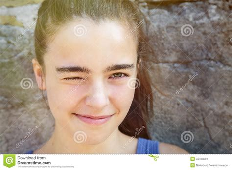 squinting one eye smiling squinting one eye stock photo image 45433591