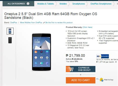 Hp Oneplus 2 Lazada oneplus 2 shows up on lazada for 21 799 00 techno guide