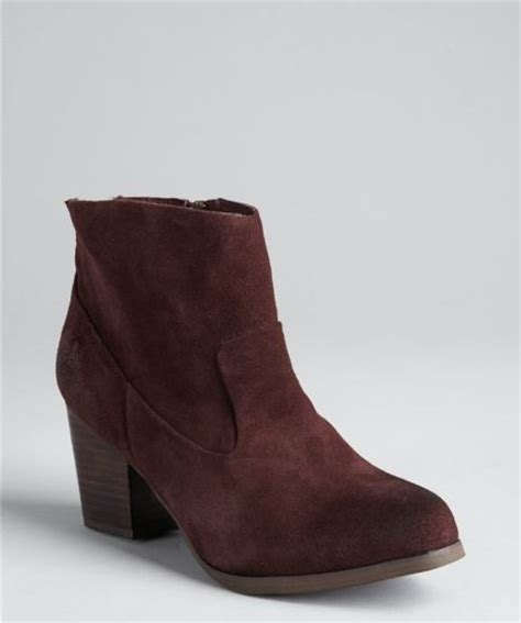 kelsi dagger chocolate suede zip tassel ankle boots