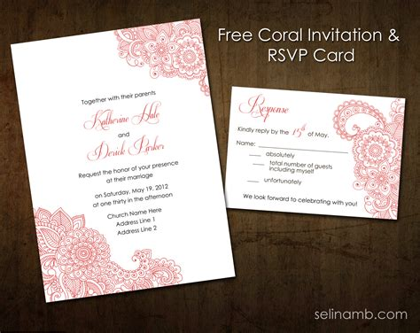 Wedding Invitation With Rsvp by Coral Wedding Invitation Rsvp Printable By Selinamb On