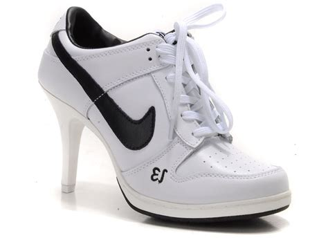 high heel nike sneakers nike high heel dunks unlucky 13 white black 4115434