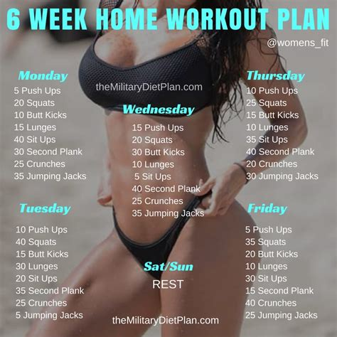6 week no home workout plan diet