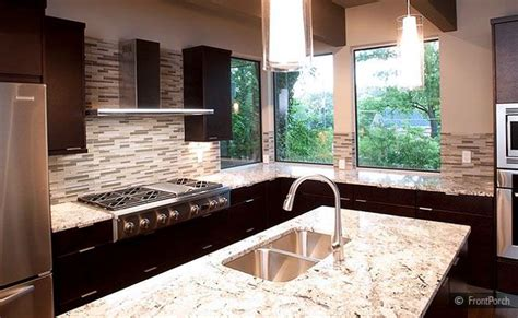 Espresso Cabinets White Countertop by Modern Backsplash Tile Espresso Cabinet Gold Countertop