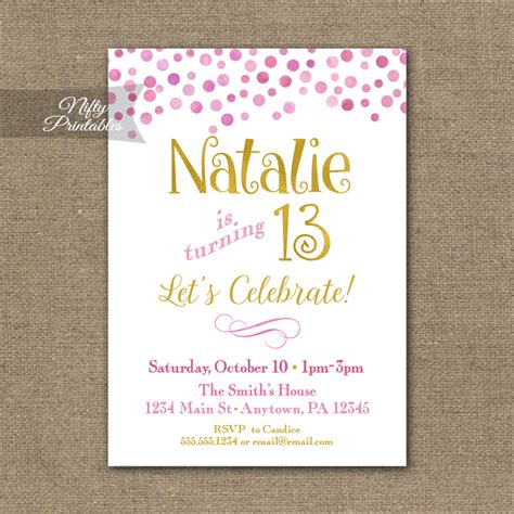 printable birthday invitations for tweens pink gold confetti birthday invitation teen tween