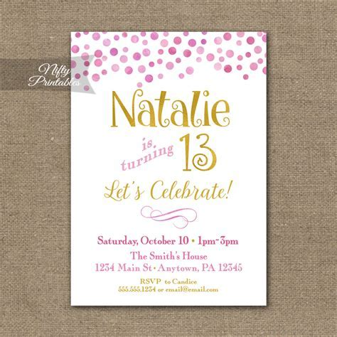Pink Gold Confetti Birthday Invitation   Teen Tween