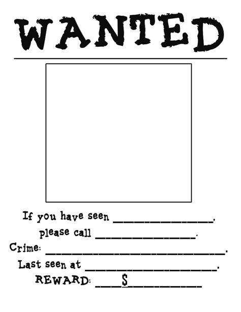 6 Best Images Of Printable Wanted Poster Template Blank Wanted Sign Template White Wanted Printable Wanted Poster Template Free