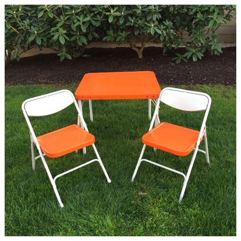 Childrens Folding Table And Chairs Vintage Orange Samsonite Child S Table Chairs Folding Table And Two Chairs Mid Century