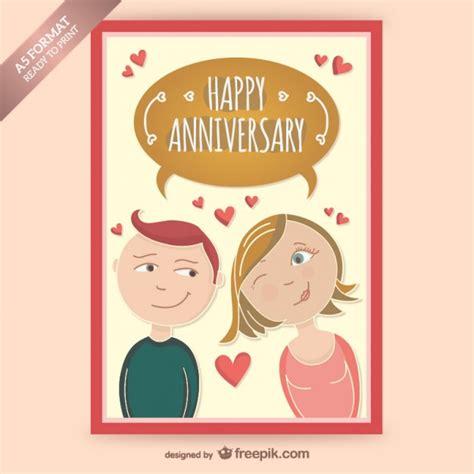 imagenes de aniversario para la pareja tarjeta gratuita de aniversario con dibujo de pareja