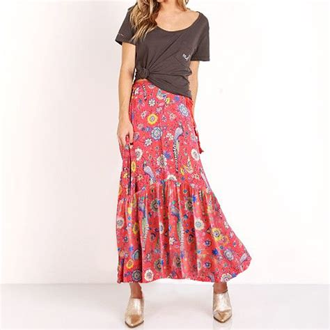 hippie skirt 2017 new summer birds floral