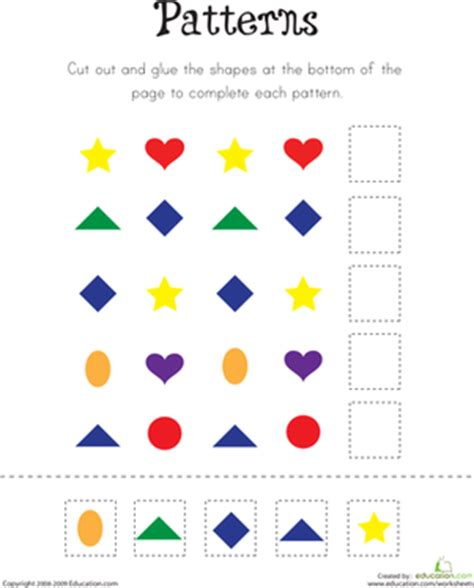 pattern for kindergarten pattern practice worksheet education com