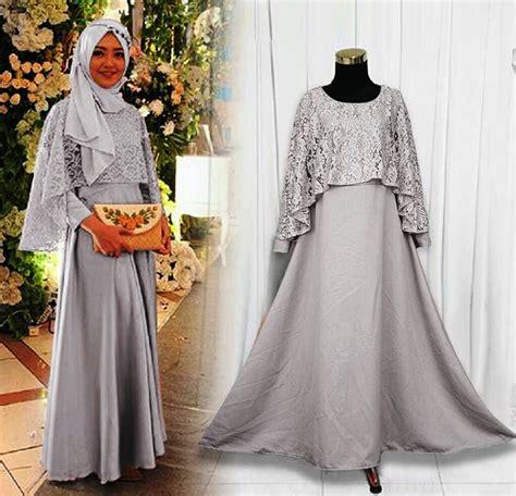 Baju Atasan Muslim Murah Gamis Murah Kaila Dres Mint Abu 21 model gamis brokat 2018 untuk hijabers modis gambar