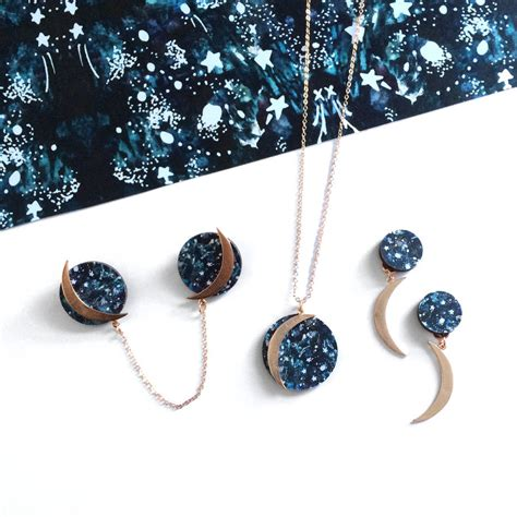 Non Matching Moon Earring moon and earrings by mica peet notonthehighstreet