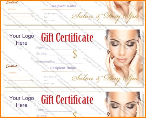 spa gift card voucher template salon gift certificate template authorization letter pdf