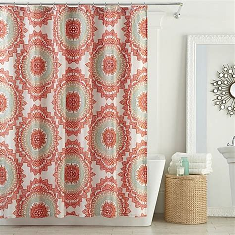 coral curtains anthology bungalow shower curtain in coral bed bath
