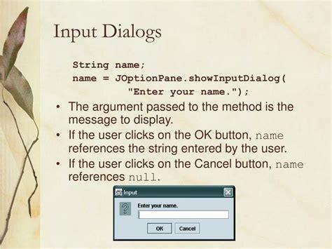 java swing input dialog joptionpane input dialog cancel option and also schwab day