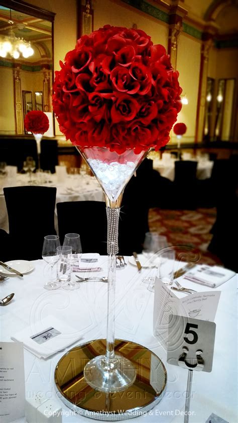 Crystal Martini with Red Rose Ball   $25diy