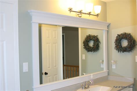 How To Frame A Large Bathroom Mirror | full of great ideas framing a builder grade mirror that