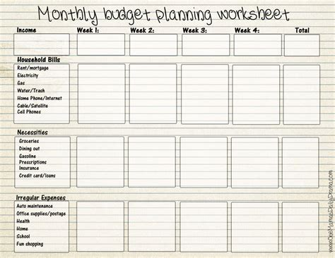 free printable monthly budget form budget forms monthly budget