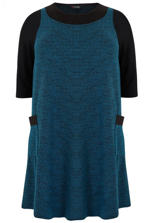 Mock Two Striped Panel Top turquoise textured mock pinafore dress with two pockets