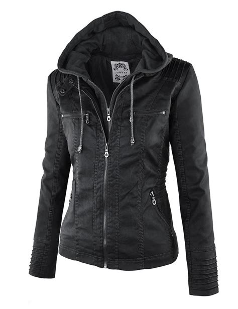 hooded motorcycle jacket ll womens 2 for one hooded faux leather jacket at amazon