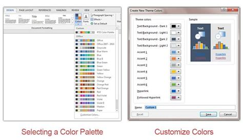 colour themes word creating and saving a theme in microsoft word 2013