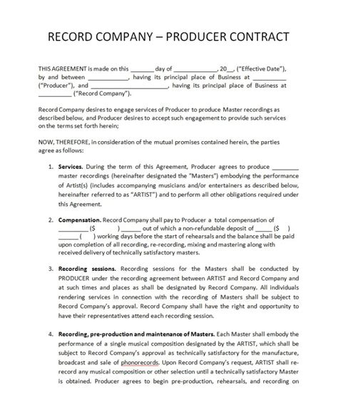 co production agreement template band contract agreement template