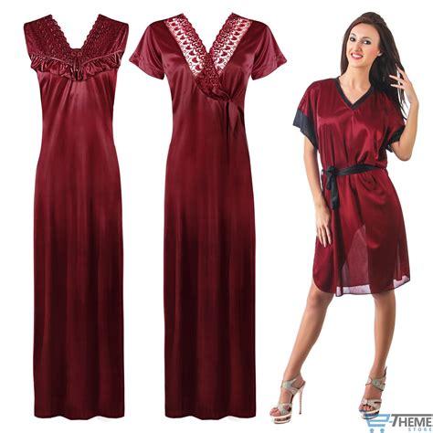 nighty gown design ladies designer 3pc nightwear womens satin nightie robe
