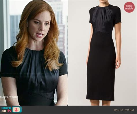 Suits Wardrobe Donna by Donna S Black Sleeved Dress With Gathered Neck On