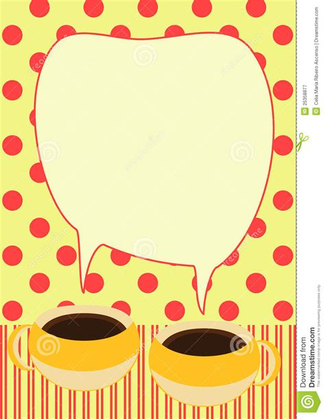 Coffee Cups Talking Invitation Card Stock Illustration Illustration Of Backgrounds Espresso Coffee Morning Invitations Templates