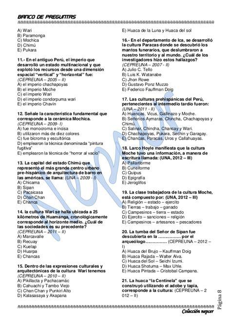 preguntas de historia cultura general banco de preguntas de historia unap actualizado 2013