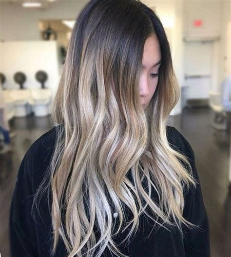 highlights with hair melt underneath color melt ombre bright blonde on naturally dark hair