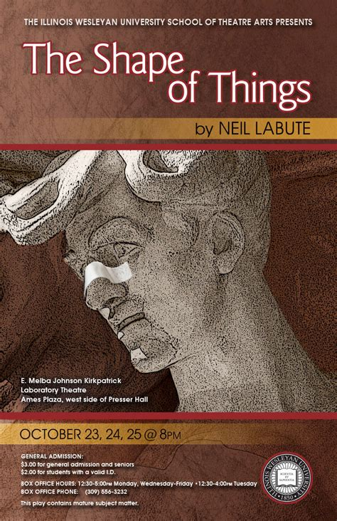 the shape of things illinois wesleyan lab theatre the shape of things