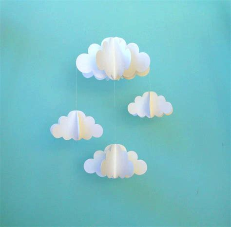 How To Make 3d Clouds Out Of Paper - cloud mobile nursery mobile 3d paper cloud mobile by