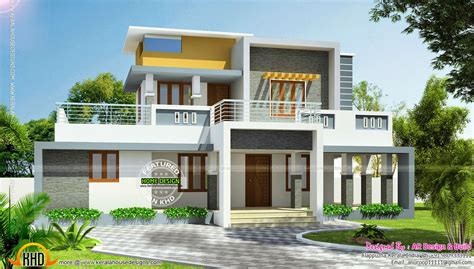 kerala home design flat roof elevation double storied home kerala design floor plans plan